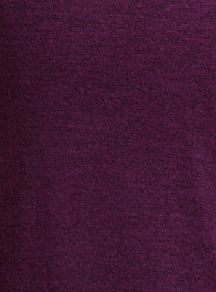 Super Soft Plush Burgundy Purple Cowl Neck Tunic Hoodie, HIGHLAND THISTLE, alternate