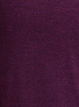 Plus Size Super Soft Plush Burgundy Purple Cowl Neck Tunic Hoodie, HIGHLAND THISTLE, alternate