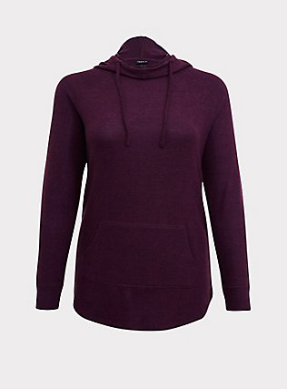 Super Soft Plush Burgundy Purple Cowl Neck Tunic Hoodie, HIGHLAND THISTLE, flat