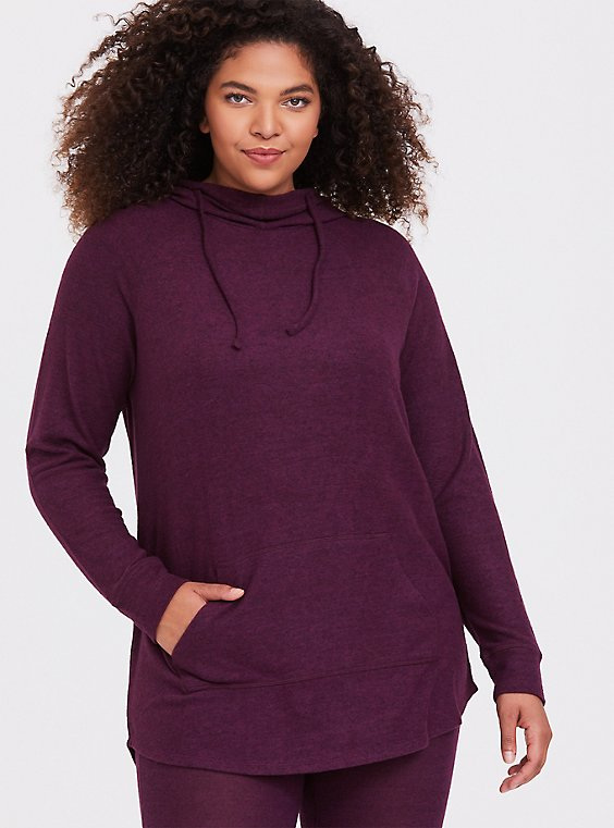 Super Soft Plush Burgundy Purple Cowl Neck Tunic Hoodie, , hi-res