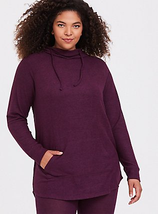Super Soft Plush Burgundy Purple Cowl Neck Tunic Hoodie, HIGHLAND THISTLE, hi-res