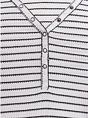 Plus Size Black & White Stripe Waffle Knit Snap Henley Long Sleeve Tee, STRIPE -BLACK, alternate