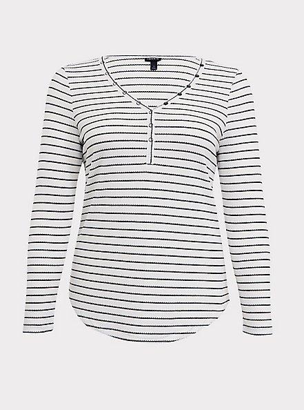 Black & White Stripe Waffle Knit Snap Henley Long Sleeve Tee, STRIPE -BLACK, hi-res