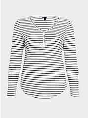 Plus Size Black & White Stripe Waffle Knit Snap Henley Long Sleeve Tee, STRIPE -BLACK, hi-res