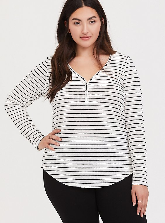 Plus Size Black & White Stripe Waffle Knit Snap Henley Long Sleeve Tee, , hi-res