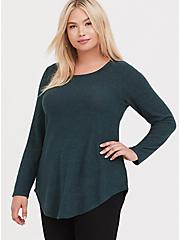 Super Soft Plush Dark Green Lattice Back Tunic Sweater, GREEN GABLES, alternate