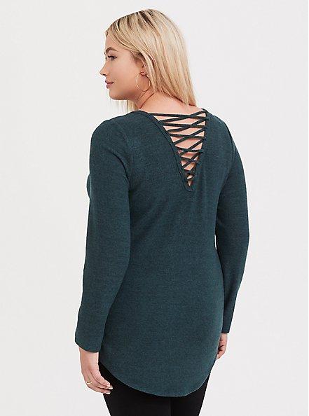 Super Soft Plush Dark Green Lattice Back Tunic Sweater, GREEN GABLES, alternate