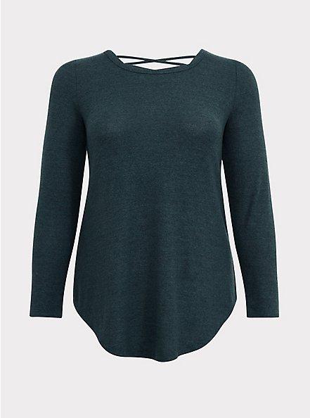 Super Soft Plush Dark Green Lattice Back Tunic Sweater, GREEN GABLES, hi-res