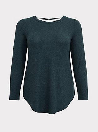 Plus Size Super Soft Plush Dark Green Lattice Back Tunic Sweater, GREEN GABLES, flat
