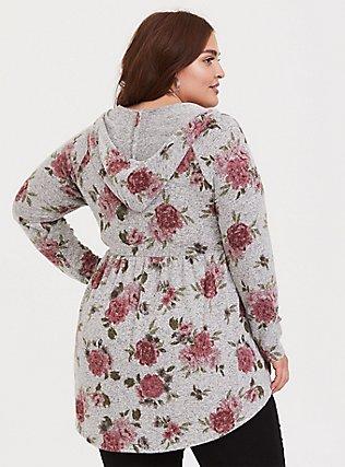 Plus Size Super Soft Plush Grey Floral Babydoll Hoodie, FLORAL - GREY, alternate