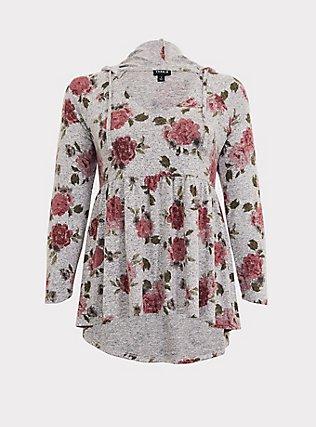 Plus Size Super Soft Plush Grey Floral Babydoll Hoodie, FLORAL - GREY, flat