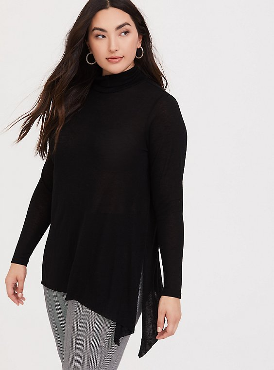 Black Hacci Turtleneck Sharkbite Tunic Tee, , hi-res