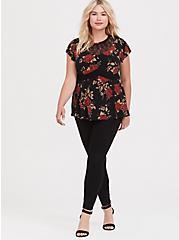 Black & Red Floral Studio Knit Lace Peplum Top, FLORAL - BLACK, alternate