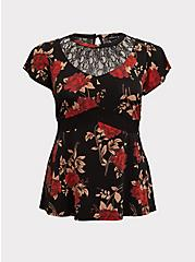 Black & Red Floral Studio Knit Lace Peplum Top, FLORAL - BLACK, hi-res