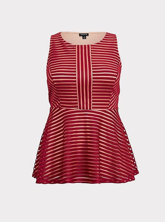Plus Size Dark Red Shadow Stripe Peplum Top, , flat