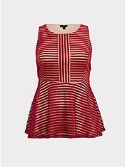 Dark Red Shadow Stripe Peplum Top, BIKING RED, hi-res
