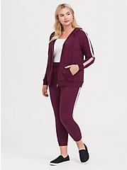 Burgundy Purple Stripe Sleeve Zip Hoodie, HIGHLAND THISTLE, alternate