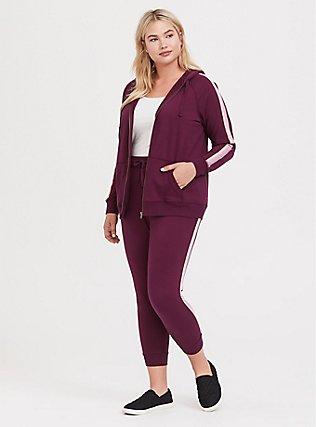 Plus Size Burgundy Purple Stripe Sleeve Zip Hoodie, HIGHLAND THISTLE, alternate