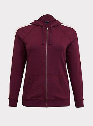 Plus Size Burgundy Purple Stripe Sleeve Zip Hoodie, HIGHLAND THISTLE, flat