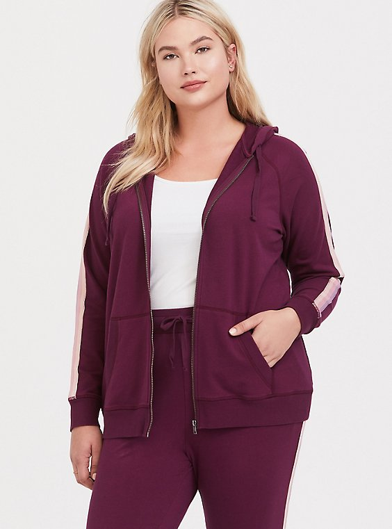 Plus Size Burgundy Purple Stripe Sleeve Zip Hoodie, , hi-res