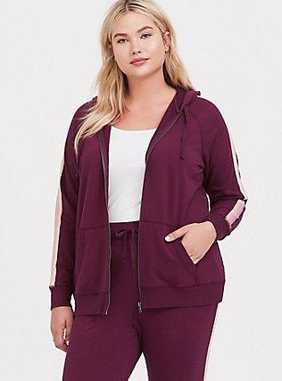 Plus Size Burgundy Purple Stripe Sleeve Zip Hoodie, HIGHLAND THISTLE, hi-res