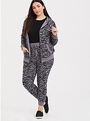 Slate Grey & Black Zebra Print Zip Hoodie, SIENNA ZEBRA, alternate