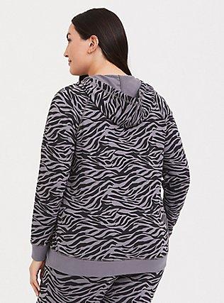 Plus Size Slate Grey & Black Zebra Print Zip Hoodie, SIENNA ZEBRA, alternate