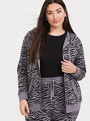 Plus Size Slate Grey & Black Zebra Print Zip Hoodie, SIENNA ZEBRA, hi-res