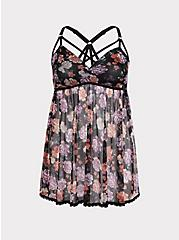 Black & Floral Mesh Strappy Babydoll, Beautiful Bouquet Black, hi-res