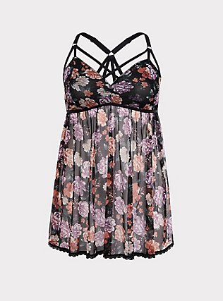 Plus Size Black & Floral Mesh Strappy Babydoll, Beautiful Bouquet Black, flat