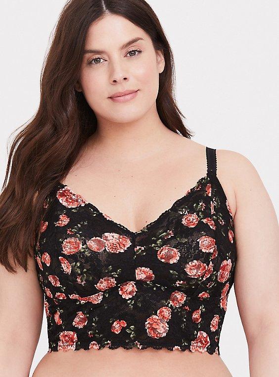 Black Floral Lace Bralette, , hi-res
