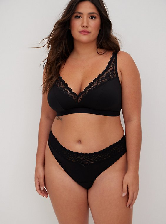 Black Microfiber & Lace Lightly Padded Bralette, , hi-res