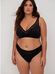 Plus Size Black Microfiber & Lace Lightly Padded Bralette, RICH BLACK, hi-res