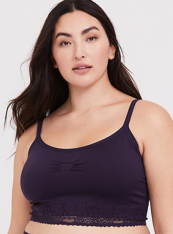 Plus Size Dark Purple Seamless Lightly Padded Bralette, , hi-res