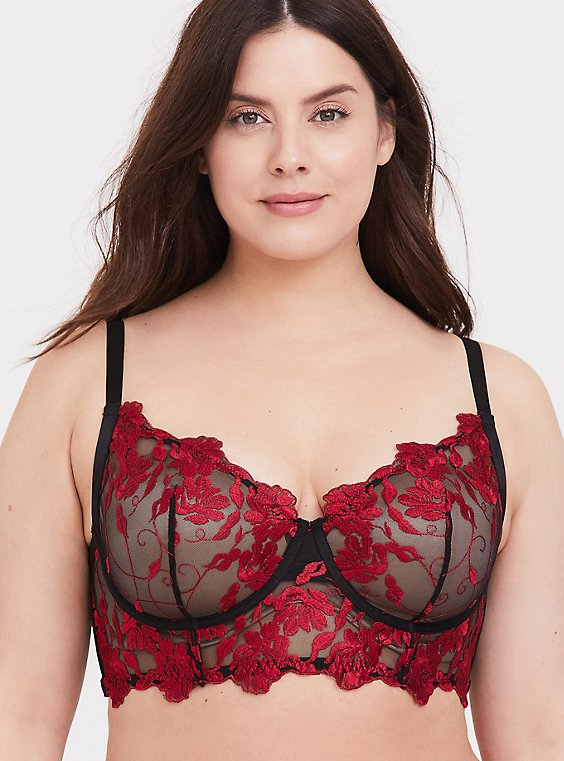 Red Embroidered & Black Mesh Unlined Longline Underwire Bralette , , hi-res