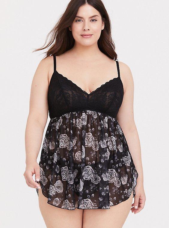 Black Lace & Floral Mesh Babydoll, , hi-res