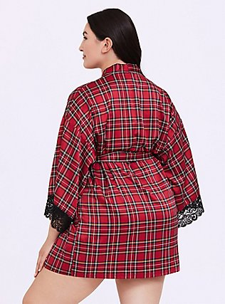 Plus Size Red Plaid Satin Robe , PUNKY PLAID RED, alternate