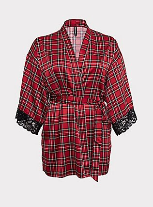 Plus Size Red Plaid Satin Robe , PUNKY PLAID RED, flat
