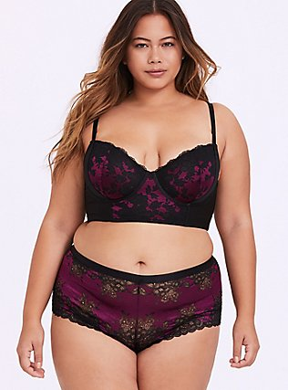 Plus Size Black & Berry Purple Lace Harness Lightly Lined Longline Underwire Bralette, NAVARRA, alternate