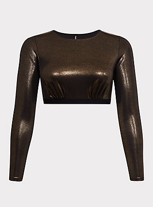 Plus Size Gold Metallic Long Sleeve Under-It-All Crop Top, RICH BLACK, flat