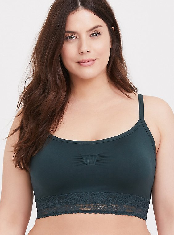 Plus Size Dark Green Seamless Padded Bralette, , hi-res
