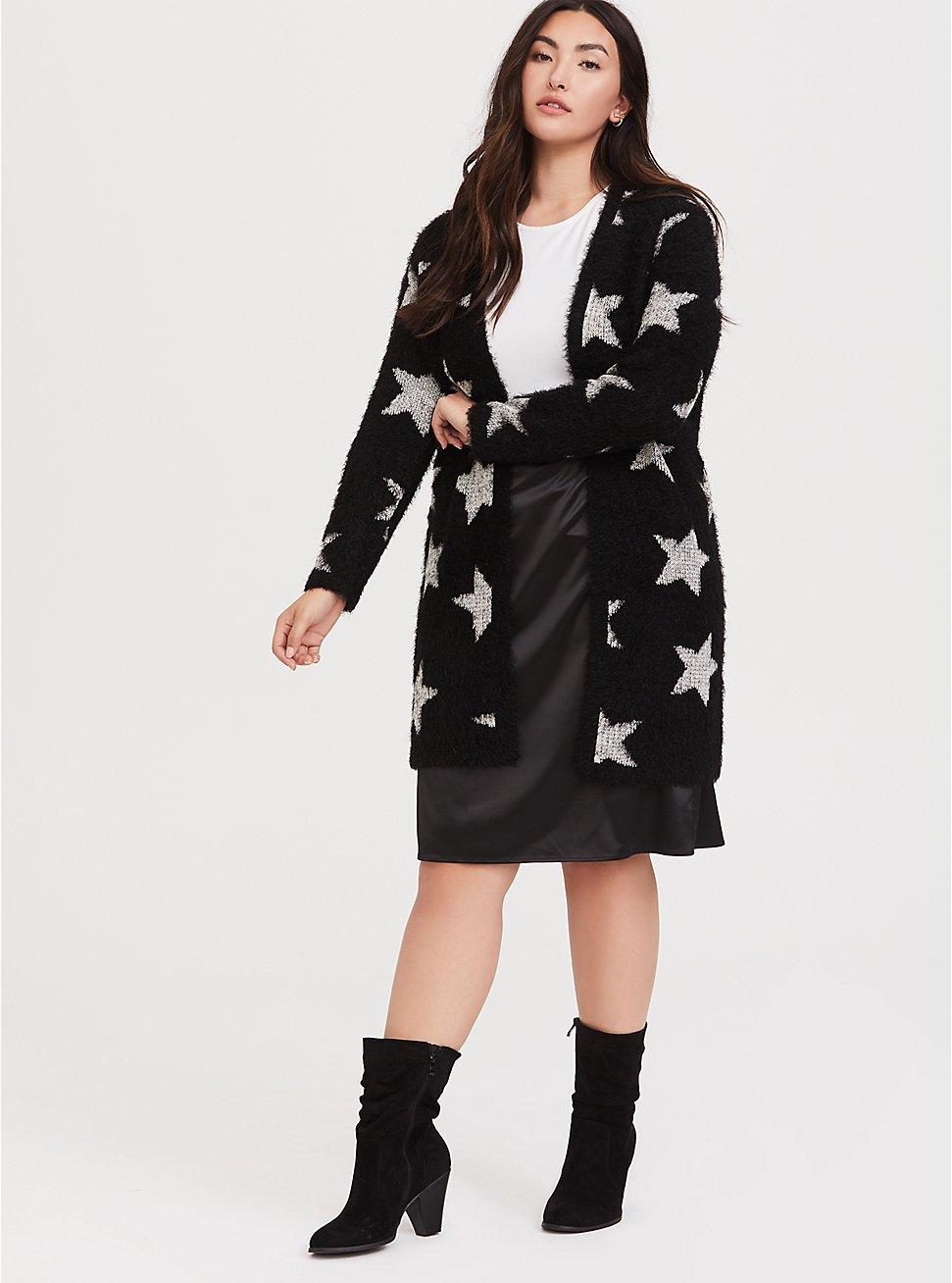 Black Star Sweater Coat, STAR FRENZY, hi-res
