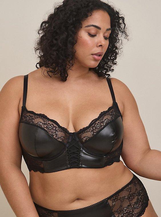 Plus Size Black Faux Leather & Lace Lattice Unlined Longline Underwire Bralette, RICH BLACK, hi-res