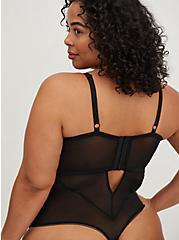 Black Mesh & Lace Underwire Thong Bodysuit, RICH BLACK, alternate