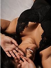 Black Mesh & Lace Underwire Thong Bodysuit, RICH BLACK, hi-res