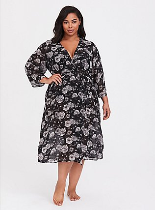 Plus Size Black Floral Chiffon Sleep Robe, Old Hollywood Floral Black, alternate