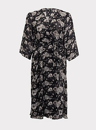 Plus Size Black Floral Chiffon Sleep Robe, Old Hollywood Floral Black, flat