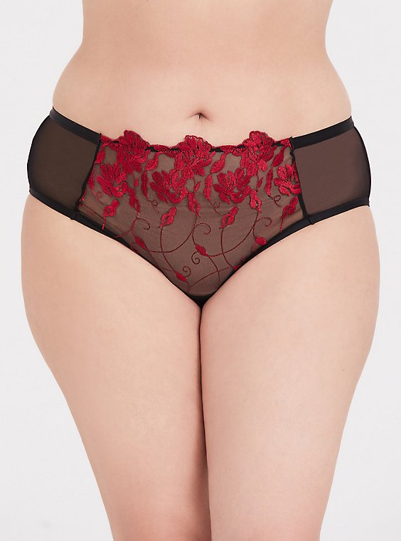 Red Embroidered & Black Mesh Hipster Panty , , hi-res