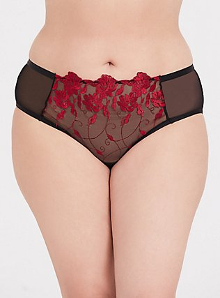 Red Embroidered & Black Mesh Hipster Panty , RED, hi-res