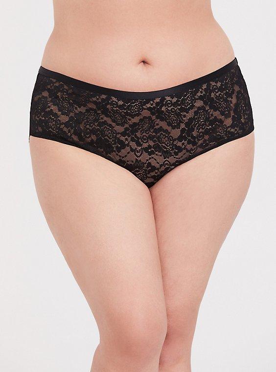 Plus Size Black Lace T-Strap Back Hipster Panty, , hi-res